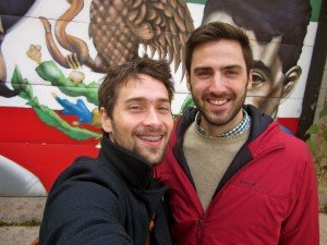 Daniel Ronan and friend Daniel posing front of a Mexican revolutionaries mural in Pilsen, a historic Latino neighborhood in Chicago. (Photo: Daniel Ronan)