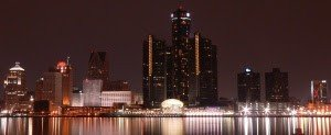 Detroit skyline at night. Credit: Shakil Mustafa [CC-BY-SA-3.0].